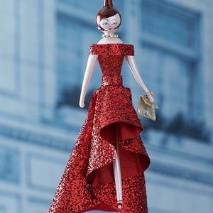De Carlini Red Glitter Dress Glass Ornament